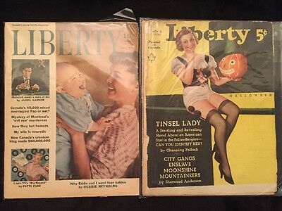 A Lot Of 2 Vintage Liberty Magazines From 1935 And 1958 Debbie Reynolds Eddie