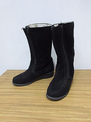 Draper Of Glastonbury Black Suede Leather Mid Calf Boots Size 4.5