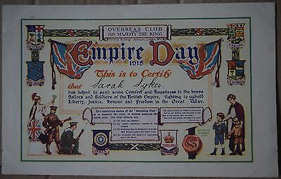 WW1 Empire Day 1915 Certificate Srah Sykes
