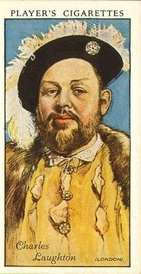 players cigarette card .film stars : charles laughton