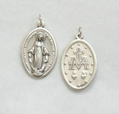 Large Miraculous Medal Pendant, 28 x 21mm Silver Oxide, Made In Italy Quality
