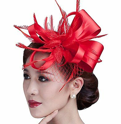 Cambric Fascinator Wedding Evening Party Derby Hat with Veil Feather Hair Clip