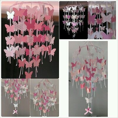 Butterfly Hanging Mobile - Pink & White