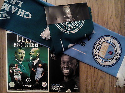 Manchester City V Celtic  - Official Match Programmes + Scarf