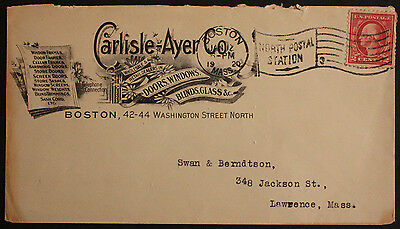 USA 1920 Illustrated Advertising Cover Carlisle-Ayer Co, Boston to Lawrence Mass