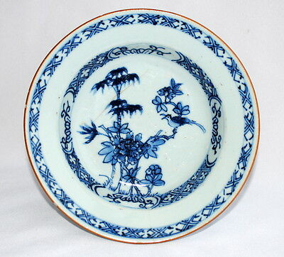18Thc Chinese Export Porcelain Blue White Dish With Hand Painted Bird Flowers A
