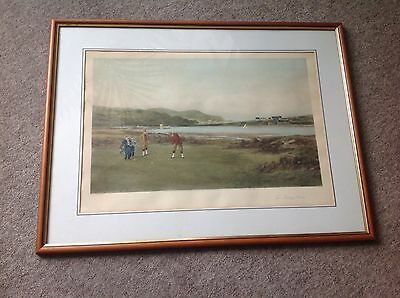 The Putting Green..Douglas Adams 1894 framed hand-coloured golfing etching