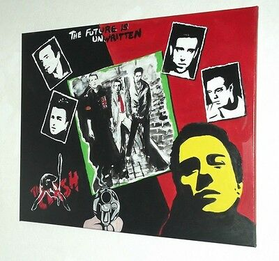The Clash Canvas Painting, Hand Painted. 24X30Ins, Punk,  Rock, New Wave.