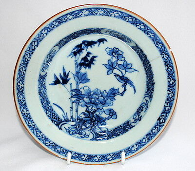 18Thc Chinese Export Porcelain Blue White Palte With Hand Painted Bird Flowers B