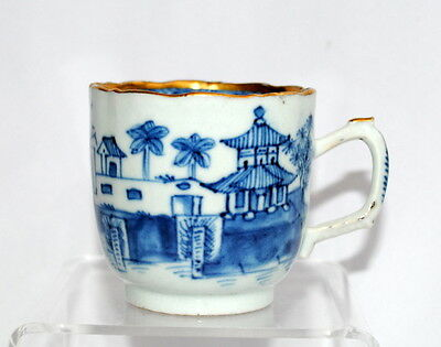 18Thc Chinese Export Porcelain Blue & White Willow Pattern H Painted Cup