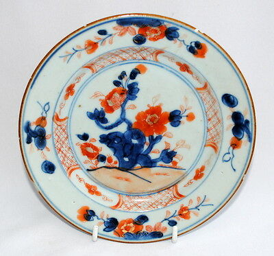 18Thc Chinese Imari Porcelain Plate Decorated With Hand Painted Flowers