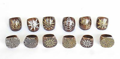 Hand Carved Hand Made Beautiful Sono Wood Rings Mixed Sizes PACK OF 12.....