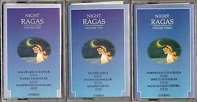 3 x Night Ragas Cassettes - Indian Classical Music (not CD) Tapes