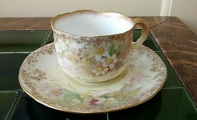 Doulton and Slaters Patent blush ivory cup and saucer with high quality gilding