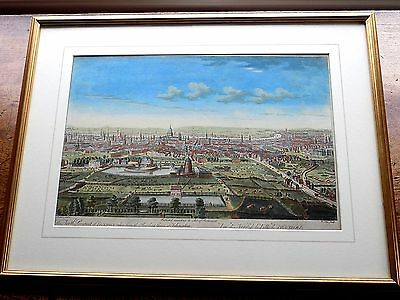 1752 London Panorama Bowles Islington Genuine Old Antique Print Engraving City