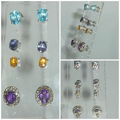 Collection 4 pairs Sterling Silver Earrings Amethyst Tanzanite Topaz and Beryl