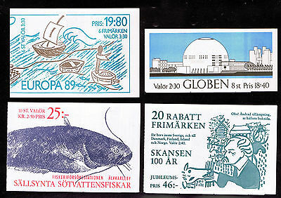 Sweden small collection of 7 Booklets from 1988 to 1991 all mint complete