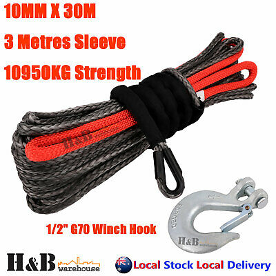 "10MM x 30M 1/2"" G70 Hook Dyneema Winch Rope Synthetic Cable 4WD Recovery K C0103"