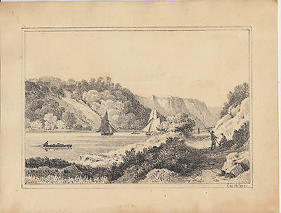 Antique engraving / etching of a river with boats by George Holmes