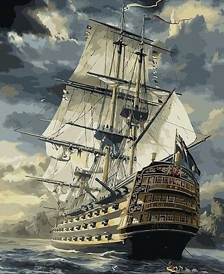BNIP Oil-on-Canvas Painting By Numbers Painting Kit : Sailing Ship 40 x 50cm