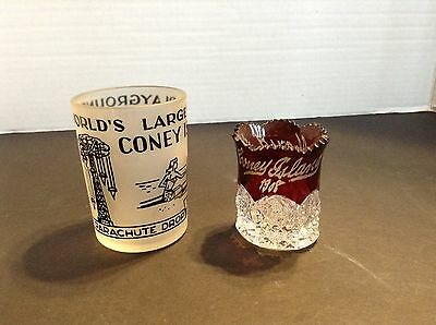 Vintage Coney Island NY Crystal Toothpick Holder 1908 + Frosted Cup