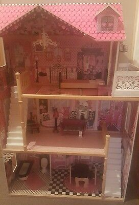 Wooden Barbie Doll House & Furniture