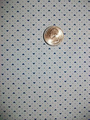 Vintage Cotton Calico Quilt Fabric Pale Blue with Tiny Heart Dot Pattern BTHY