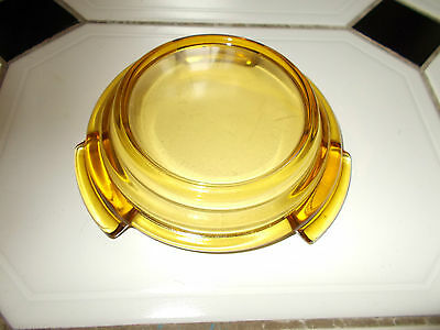 DAVIDSON GLASS ~ CLEAR AMBER GLASS PLYNTH ~ BASE ~ STAND (for fruit~flower bowl)