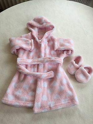 Baby Girls Clothes 9-12 Months - Fleece Dressing Gown & Slippers