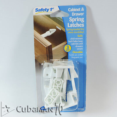 3 Pack Safety 1st - Spring-Loaded Cabinet and Drawer Latches