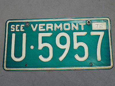 1972 Vermont VT License Plate U-5957 See Vermont White on Green FastFreeShip