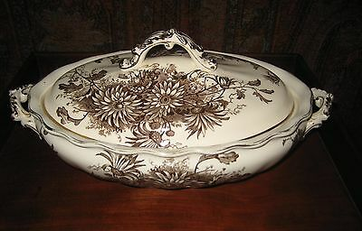 Antique Aesthetic Tureen / Covered Serving Dish Brown & White Burslem England