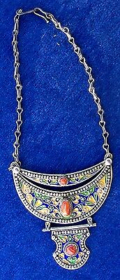 Morocco - Antique tribal ethnic Berber articulated necklace enamelled silver