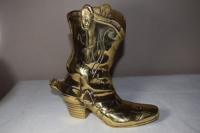 Vintage Old West Rustic Solid Brass Cowboy Boot Match Holder / Door Stop / Vase