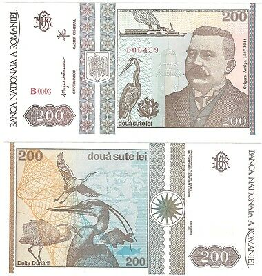 Romania 200 Lei 1992 P-100 NEUF UNC Uncirculated Banknote