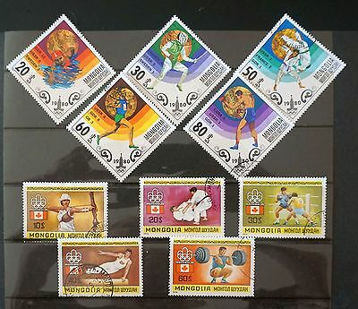 OLYMPICS 10 stamps - 2 sets - Montreal 1976 & Moscow 1980  used MONGOLIA Lot #2