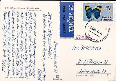 Eritrea ( At The Time Ethiopia) Cover With Butterfly Stamp And View Of Asmara