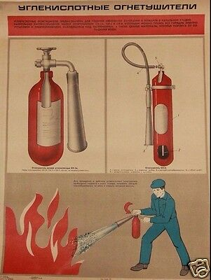 Lot of 10 Soviet posters fire-fighting operations fire extinguisher 1977-84 year