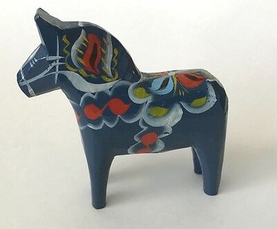 DALA Horse Sweden handcrafted wood 5 inch BLUE