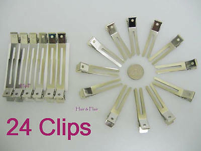 24 x Double Prong Pin Curl Hair Clips, Metal Sectioning Prom Poodle Grips