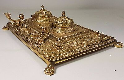 Large Double Brass Ornate Dual Inkwell - Desk Tray Pen Holder