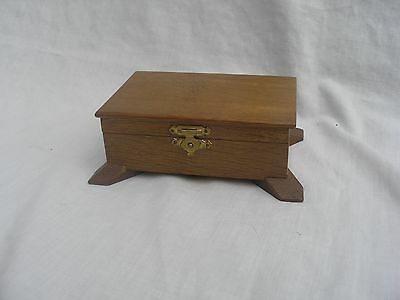 vintage Wooden trinket , jewellery box  with padded silk lined interior