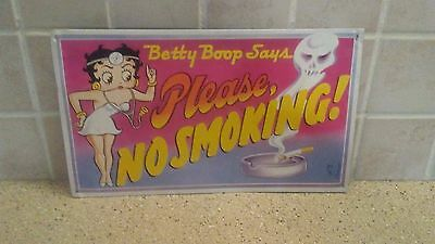 "1991 Betty Boop says "" Please No Smoking "" Metal Sign 14.5""x8.5"""