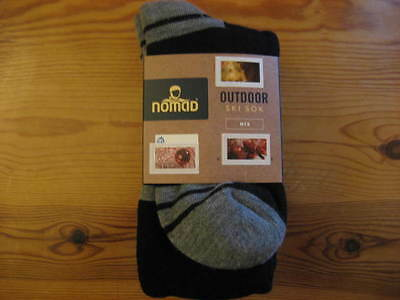 Twin Pack 2 pairs of Black / Grey Nomad mens skiing socks EU Size 39-42 UK 6-8