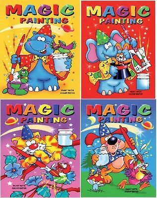 4 x Mini A6 Magic Paint with Water Painting Colouring Book Kids Party Bag Filler