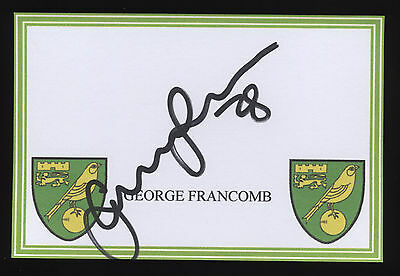 George Francomb signed Norwich City crested card.