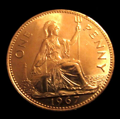 1967 Gold Penny Coin London English Unusual Curiosity Item Queen Elizabeth II UK