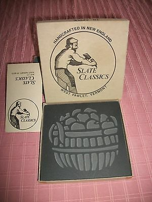 NIB Handcrafted Etched SLATE CLASSICS Apple Basket Trivet New England Vermont