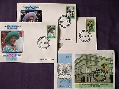 "GRENADINES ST. VINCENT - 1991 ""QUEEN MUM'S 90th  B/DAY - 3 Stamps & M/S"" 4- FDCs"