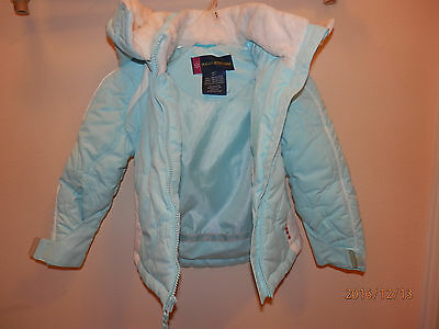 USED weatherproof 4 y.o. girls hooded winter coat blue / white, removable hood